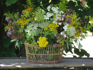 wicker flower container