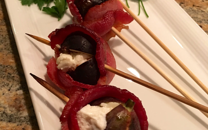 Bacon Wrapped Figs With Goat Cheese